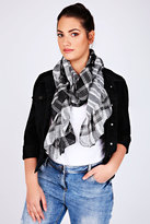 Yours Clothing Black & White Check Elasticated Ruffle Scarf