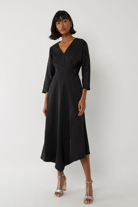 Warehouse Embellished Sleeve Dress