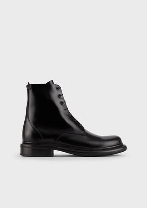 Giorgio Armani Brushed Leather Waterproof Boots