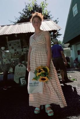 Moon River Gingham Cross-Back Midi Dress