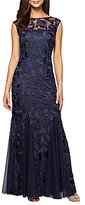 Alex Evenings Cap-Sleeve Embroidered Gown