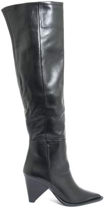 Aldo Castagna Black Leather Desi High Boots