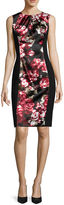 London Times London Style Collection Sleeveless Floral Colorblock Sheath Dress - Petite