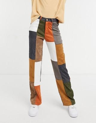Jaded London wide leg denim patchwork jeans jacket co-ord