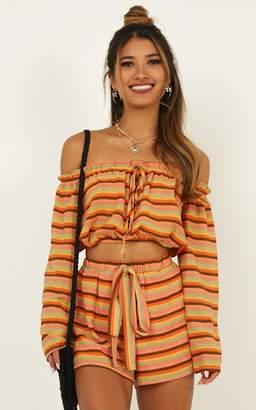 Showpo Dance All Day Two Piece Set in orange stripe - 6 (XS) Top &