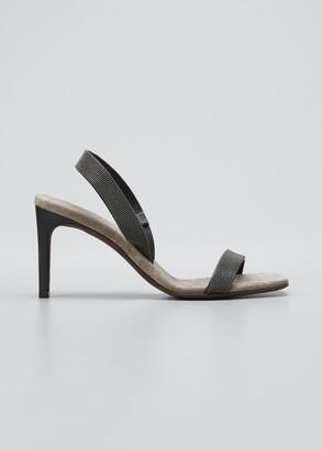 Brunello Cucinelli Suede Slingback Sandals With Monili Straps