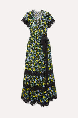Diane von Furstenberg Victorious Crocheted Lace-trimmed Embroidered Tulle Wrap Dress - Green