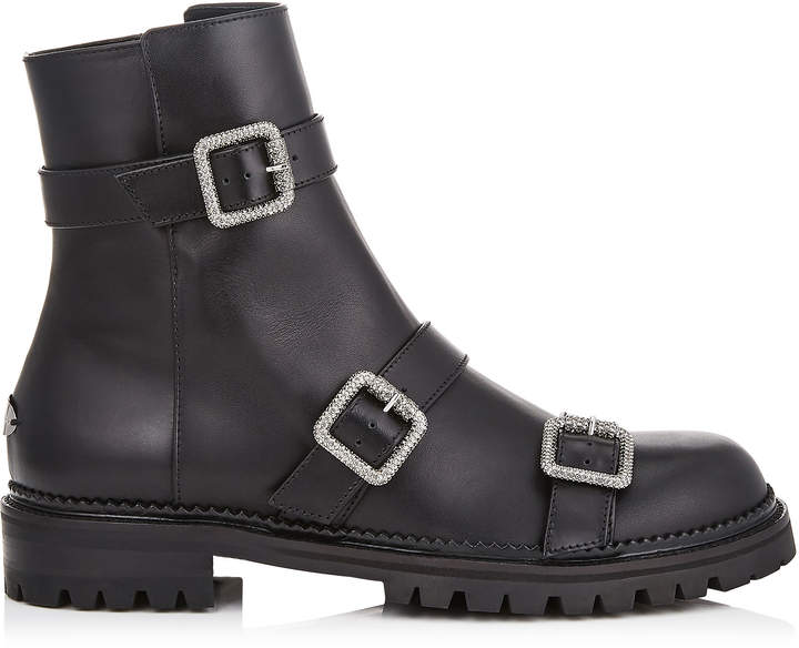 Jimmy Choo HANK FLAT Black Smooth Leather Flat Boots with Jewel Buckles