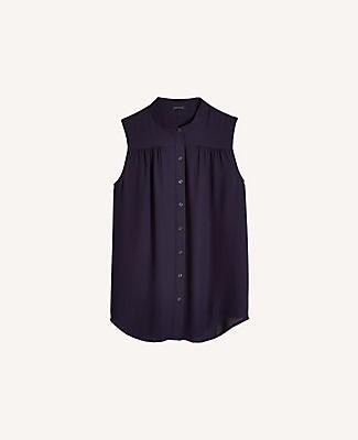 Ann Taylor Petite Shirred Sleeveless Button Down Blouse