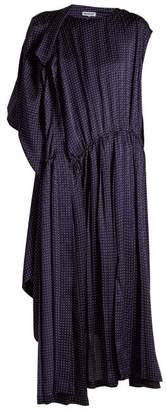 Balenciaga Asymmetric Polka-dot Silk Dress - Womens - Navy White