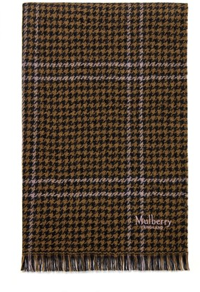 Mulberry Reversible TriColour Check Scarf Ebony Lambswool