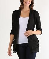 Black Three-Quarter Sleeve Cardigan