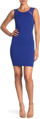 Love Squared Solid Sleeveless Mesh Cutout Bodycon Dress