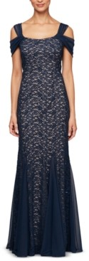 Alex Evenings Petite Lace Cold-Shoulder Gown