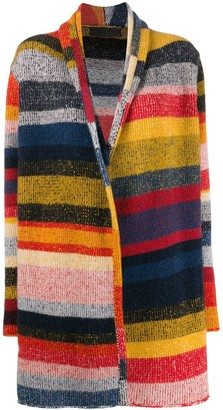 The Elder Statesman striped cashmere cardi-coat