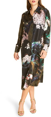 Marina Rinaldi Dynamic Long Sleeve Silk Twill Shirtdress