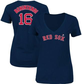 Majestic Women's Andrew Benintendi Navy Boston Red Sox Name & Number V-Neck T-Shirt