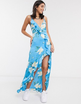 Signature 8 maxi floral print slip dress in blue