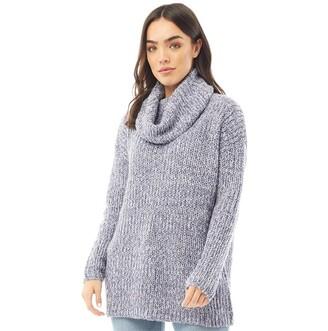 Onfire Womens Cowl Neck Sweater Blue/Ecru Twist