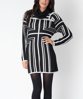 Yuka Paris Black & Ivory Geometric Sweater Dress