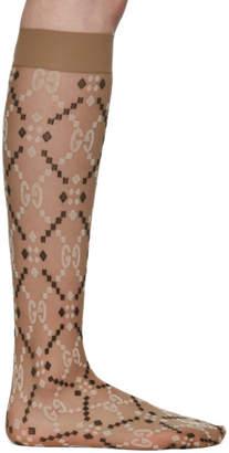 Gucci Beige Jacquard Mesh GG Socks