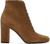Saint Laurent Tan Suede Lace-Up Babies Boots