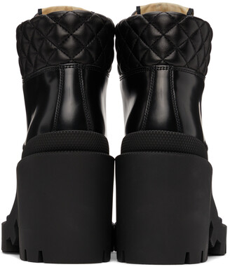Gucci Black Lace-Up Heeled Boots