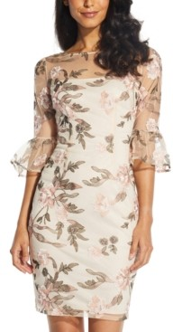 Adrianna Papell Floral-Embroidered Sheath Dress