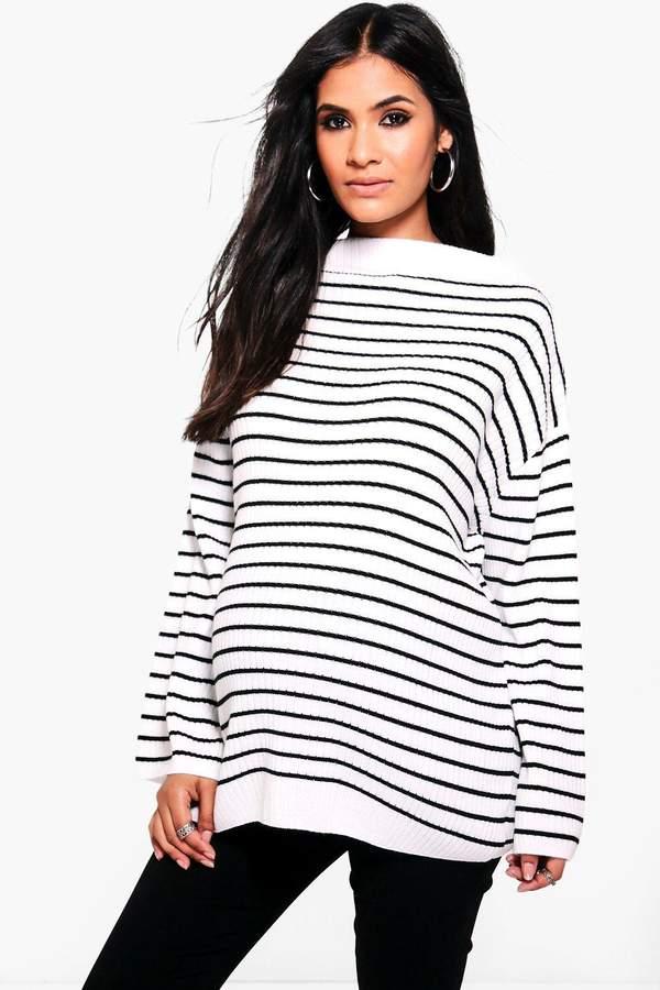 Maternity Striped Soft Rib Sweater