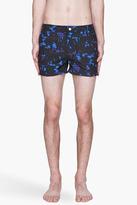 Paul Smith Black and indigo Slim Optic Flower swim shorts