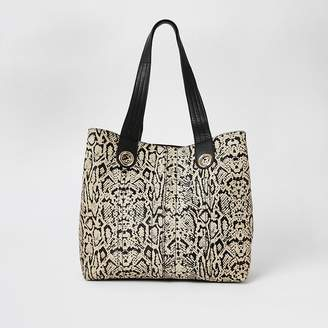 River Island Beige leather snake print slouch bag