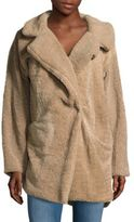 C&C California Notched Lapel Faux Shearling Coat