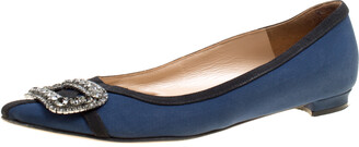 Manolo Blahnik Navy Blue Satin Gotrian Crystal Embellished Pointed Toe Flats Size 36.5