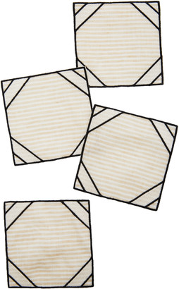 Los Encajeros Set-Of-Four Neutral Linen Coasters
