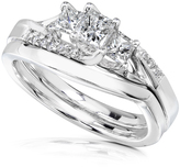Ice 1/2 CT TDW Diamond 14K White Gold Wedding Bridal Set Ring