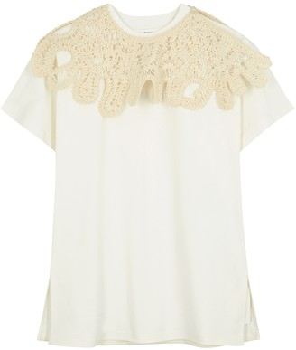 Jil Sander White crochet-panelled cotton T-shirt