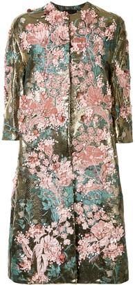 Biyan Embroidered Floral-Brocade Coat