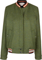 Marco De Vincenzo Green Wool Embroidered Squirrel Bomber Jacket