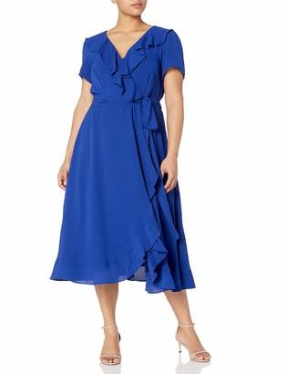 Gabby Skye Women's Plus Size Short Sleeve V-Neck Stripe Ruffled Faux Wrap Dress