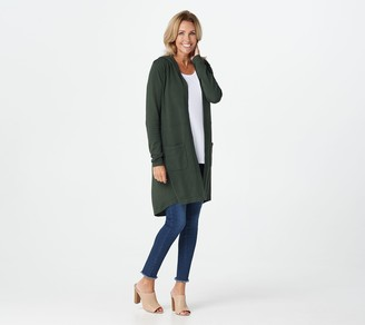 Belle By Kim Gravel Feather Knit Hooded Long Cardigan
