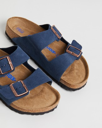 Birkenstock Navy Flat Sandals - Arizona SFB Regular - Size 35 at The Iconic