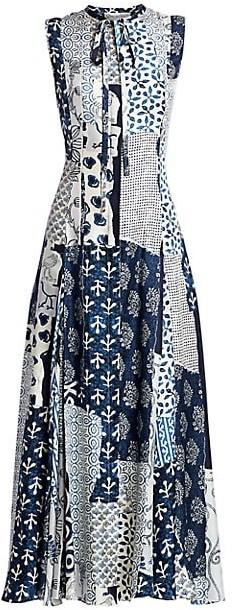 Oscar de la Renta Patchwork Silk Midi Dress