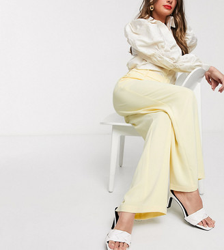 Vero Moda exclusive tailored wide leg trousers with belted waist in light yellow