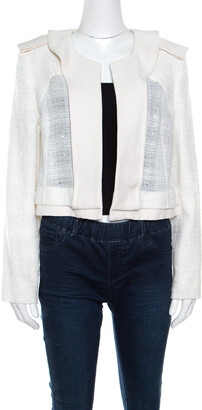 Chloé Sail White Textured Open Front Jacket S