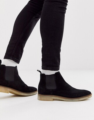 Asos DESIGN chelsea boots in black suede with natural sole