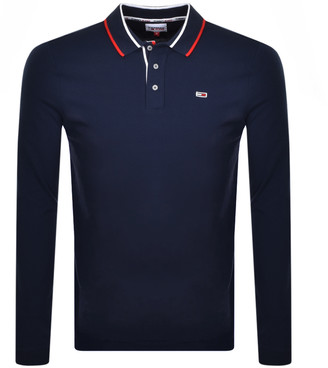 Tommy Jeans Flag Long Sleeve Polo T Shirt Navy