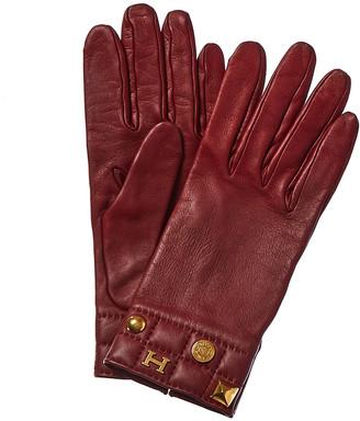 Hermes Burgundy Leather Charm Gloves