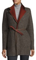 Loro Piana Barnet Reversible Tweed Coat, Oxford/Karkadé Red