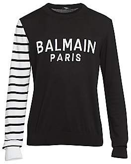 Balmain Men's Logo Stripe-Sleeve Sweater