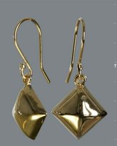 gold pyramid stud drop earrings